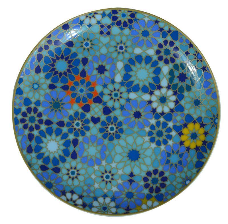 assiette plate porcelaine moucharabieh bleu images d 39 orient. Black Bedroom Furniture Sets. Home Design Ideas