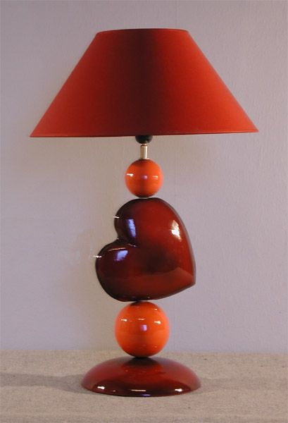 lampe c ramique coeur rouge boules orange. Black Bedroom Furniture Sets. Home Design Ideas