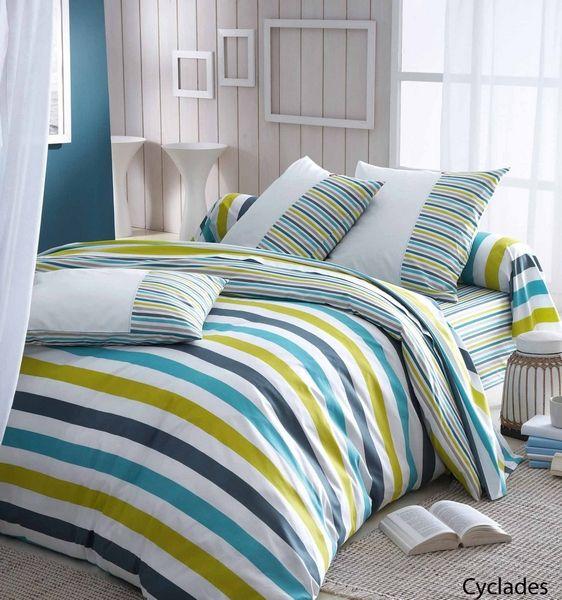 drap housse 60th meridian cyclades 140x190 linge de maison. Black Bedroom Furniture Sets. Home Design Ideas