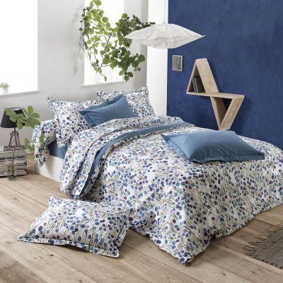 drap housse bagatelle uni encre imprim orage coton 140x190 linge de maison. Black Bedroom Furniture Sets. Home Design Ideas