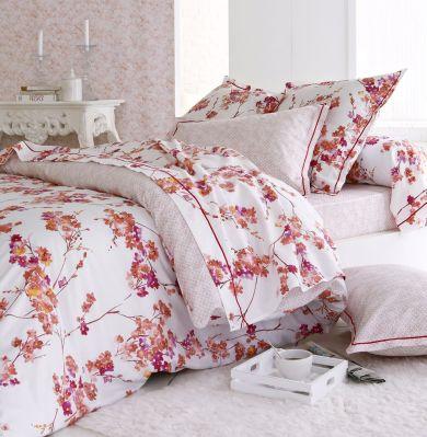 drap housse rose 90x190 Drap housse Blossom satin de coton imprimé fond rose 90x190  drap housse rose 90x190
