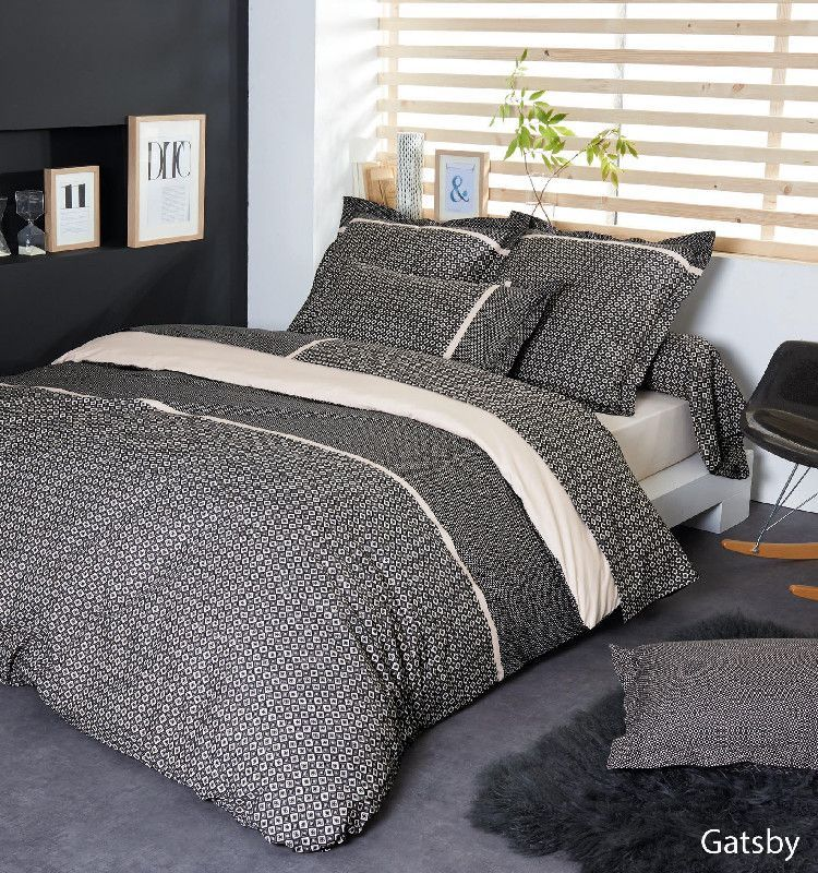 drap housse gatsby percale 200x200 linge de maison. Black Bedroom Furniture Sets. Home Design Ideas