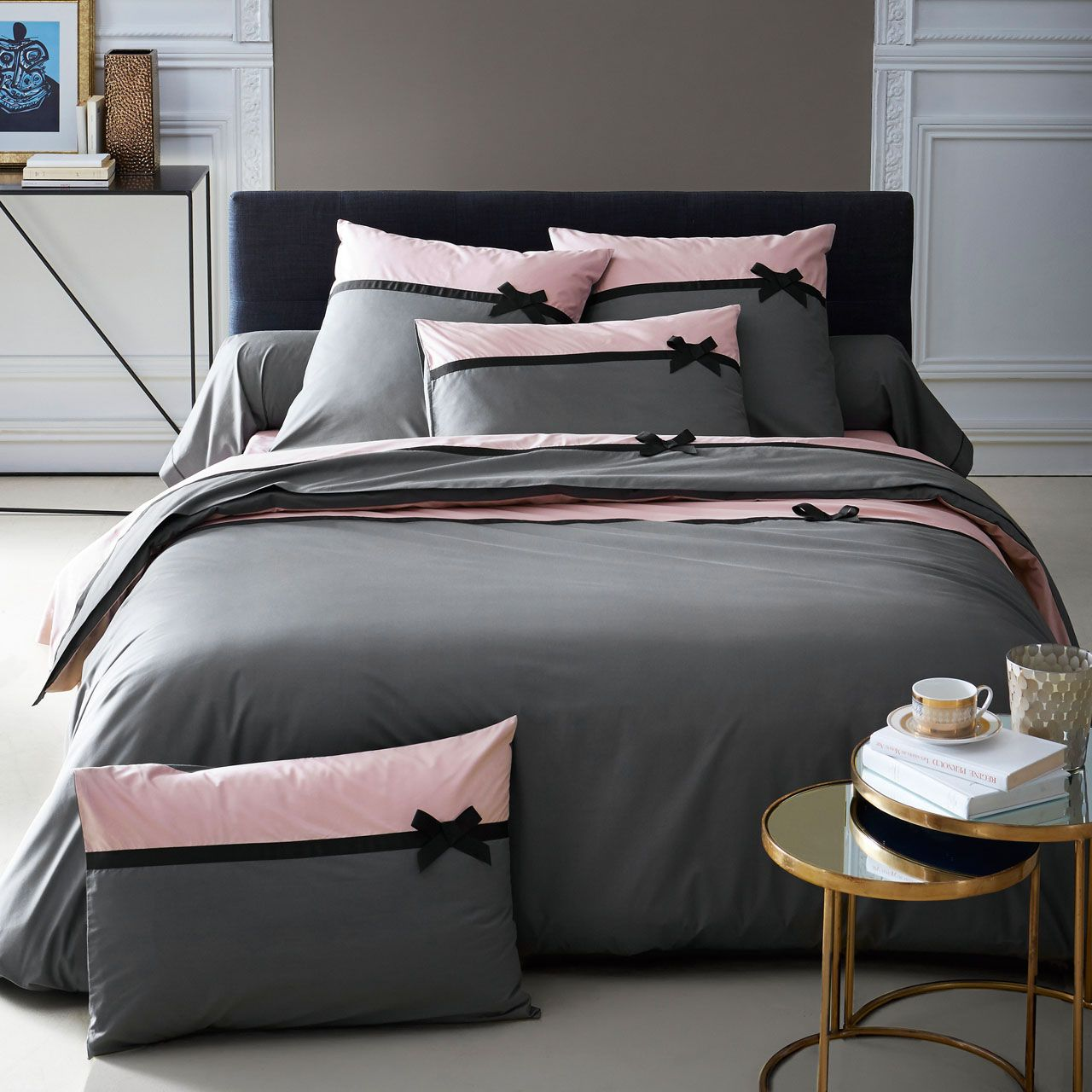 drap housse percale frou frou anthracite 180x200 tradilinge. Black Bedroom Furniture Sets. Home Design Ideas