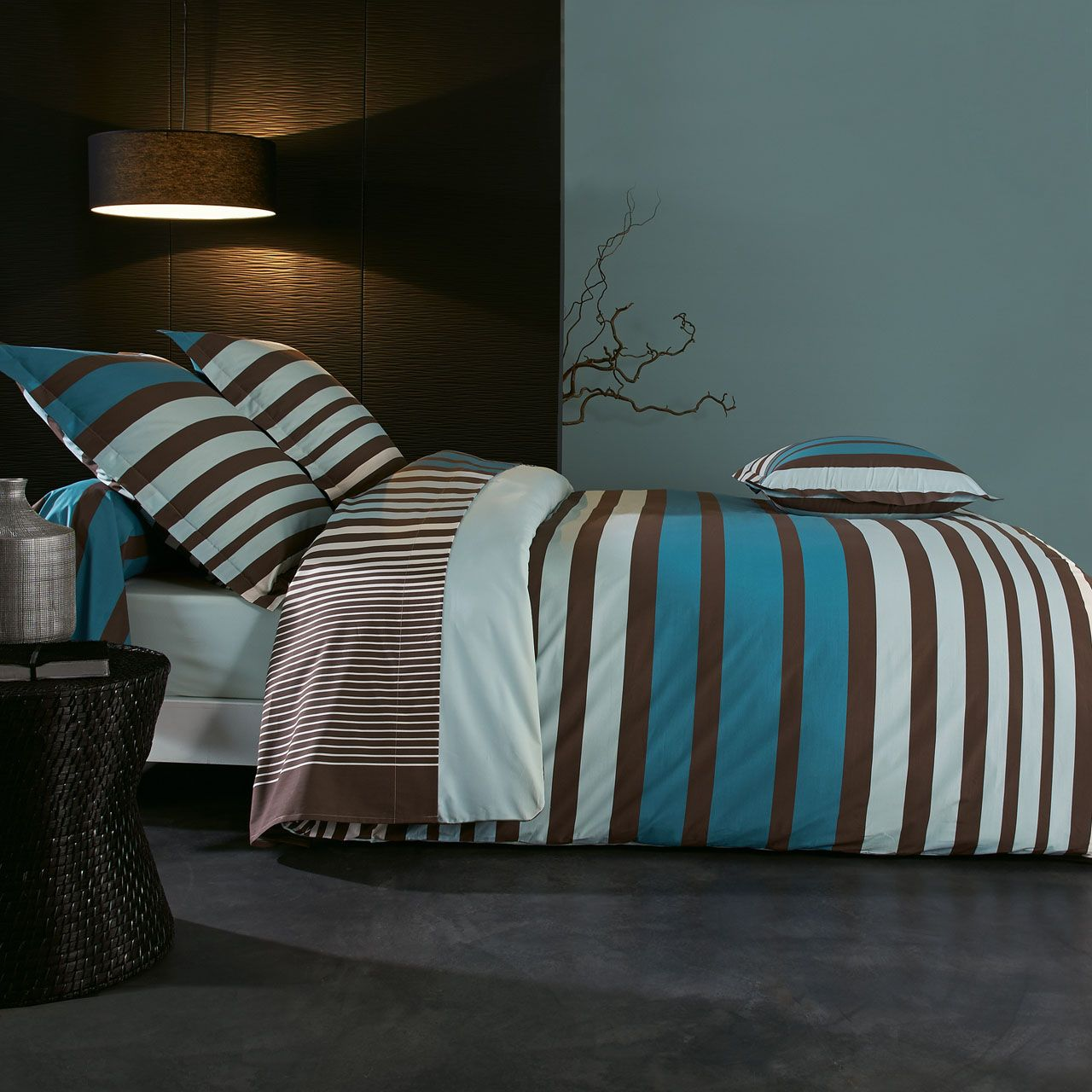 drap housse percale stripe bleu 160x200 tradilinge. Black Bedroom Furniture Sets. Home Design Ideas