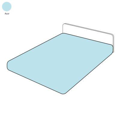 drap housse uni azur percale 140x190 linge de maison. Black Bedroom Furniture Sets. Home Design Ideas