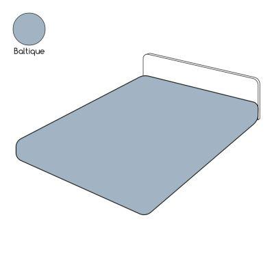 drap housse uni bleu baltique percale 80x200 linge de maison. Black Bedroom Furniture Sets. Home Design Ideas