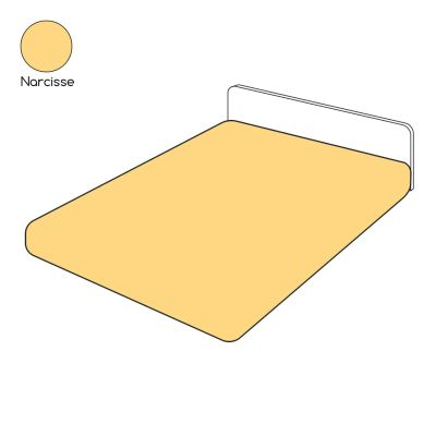 Drap housse uni jaune narcisse percale 140x190   Linge de maison