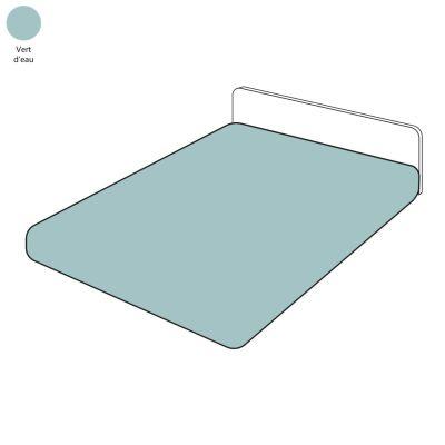drap housse uni vert d 39 eau percale 80x200 tradilinge. Black Bedroom Furniture Sets. Home Design Ideas
