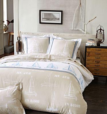 drap plat 60th meridian sailing 180x290 linge de maison. Black Bedroom Furniture Sets. Home Design Ideas