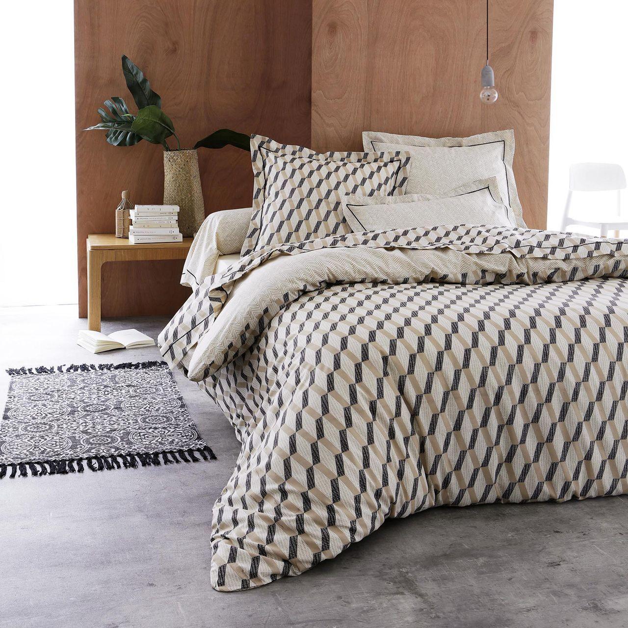 drap plat eko coton imprim losange 180x290 tradilinge. Black Bedroom Furniture Sets. Home Design Ideas