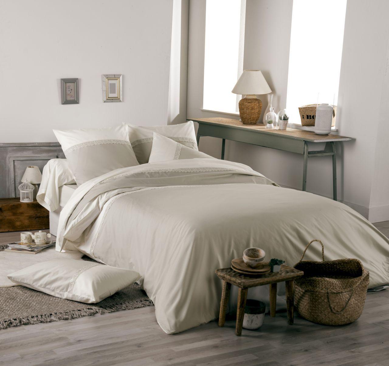 drap plat idylle percale beige coquille galon dentelle 280x310. Black Bedroom Furniture Sets. Home Design Ideas