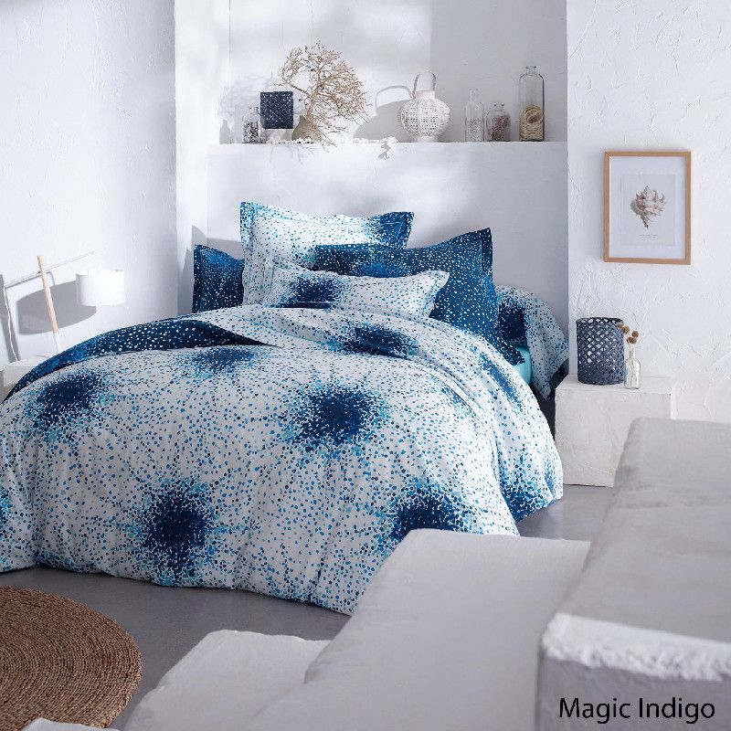 Drap plat magic indigo 180x290 linge de maison - Difference entre drap plat et housse de couette ...