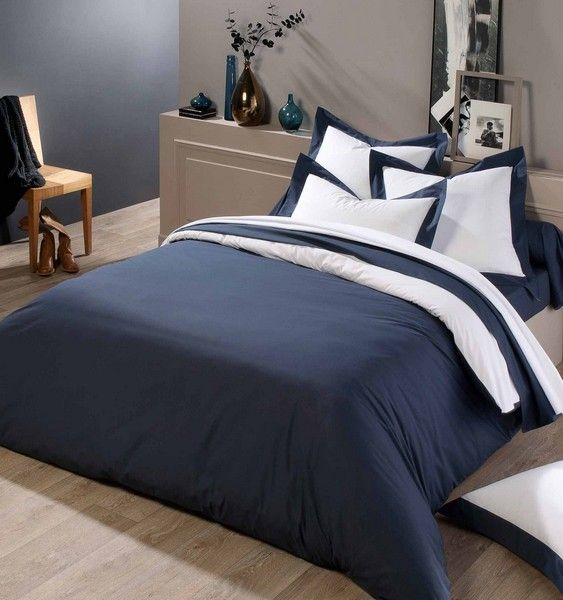 drap plat percale castel marine blanc 280x300 linge de maison. Black Bedroom Furniture Sets. Home Design Ideas