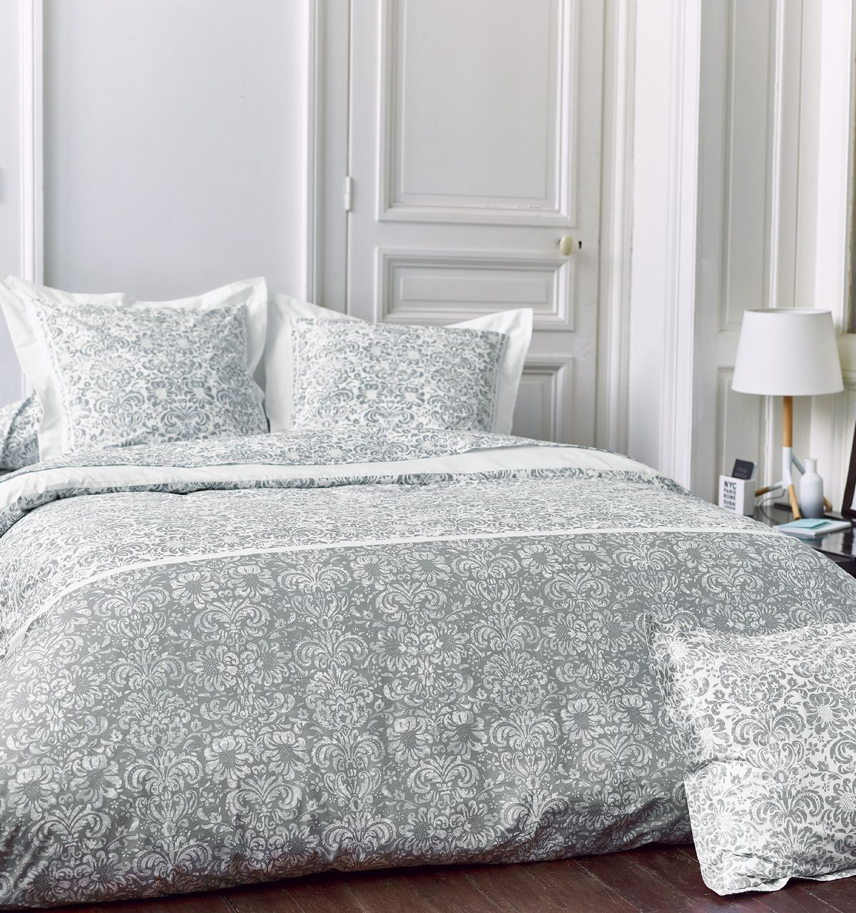 Drap plat percale motif amboise 180x290 tradilinge for Drap housse couette