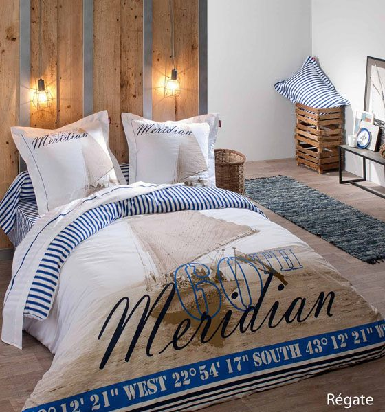 housse de couette 60th meridian regate 260x240 tradilinge. Black Bedroom Furniture Sets. Home Design Ideas