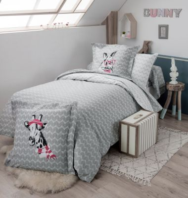 housse de couette bunny imprim sur fond gris 200x200 linge de maison. Black Bedroom Furniture Sets. Home Design Ideas