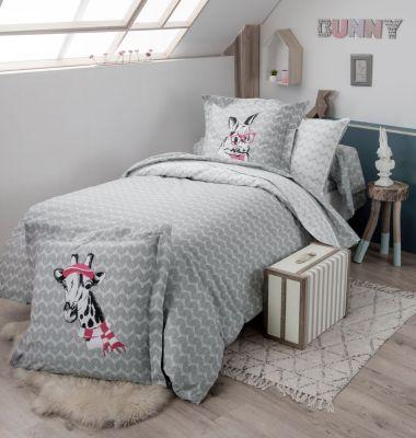 housse de couette bunny imprim sur fond gris 200x200 linge de maison. Black Bedroom Furniture Sets. Home Design Ideas