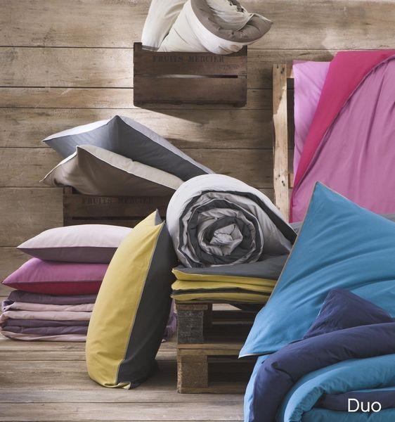 housse de couette duo galet carbone 140x200 linge de maison. Black Bedroom Furniture Sets. Home Design Ideas