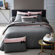 Housse de couette Frou Frou anthracite percale 260x240 - Tradilinge
