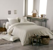 Housse de couette Idylle percale beige coquille galon dentelle 140x200 - Tradilinge