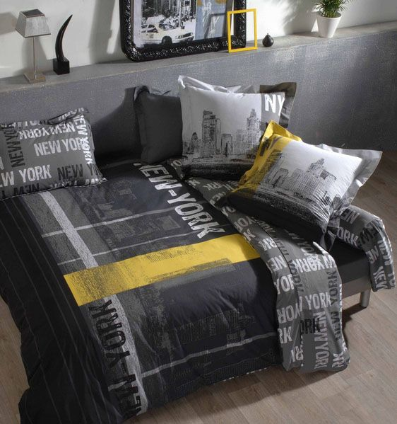 housse de couette new york 140x200 tradilinge. Black Bedroom Furniture Sets. Home Design Ideas