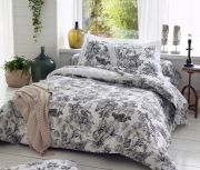 Housse de couette Savane blanc satin coton jungle N/B 140x200 - Tradilinge