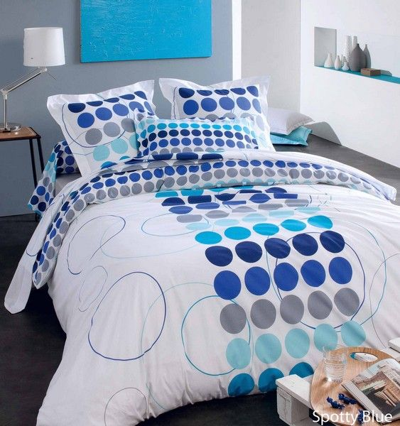 housse de couette spotty blue 140x200 linge de maison. Black Bedroom Furniture Sets. Home Design Ideas