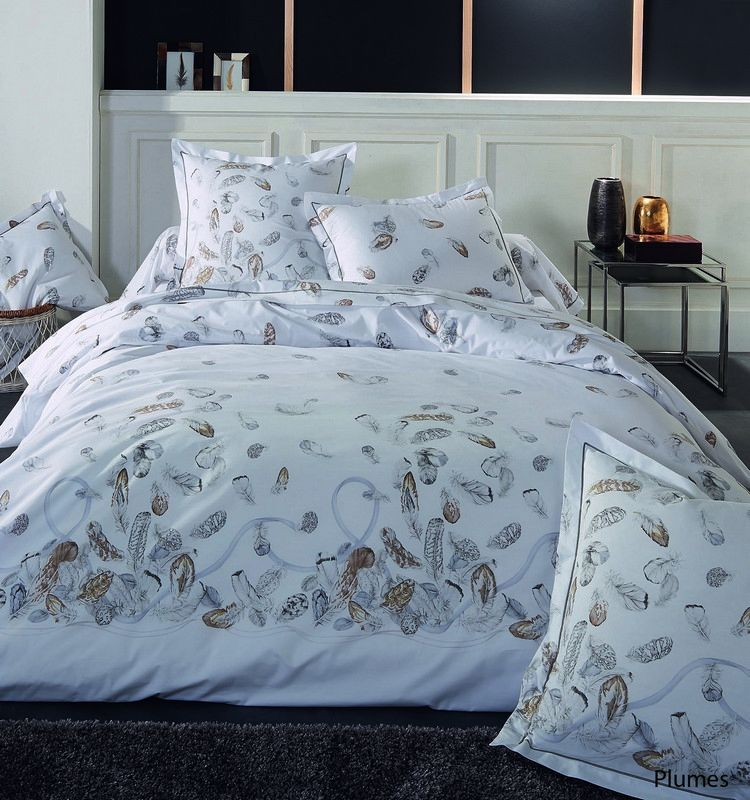 Housse de couette percale plumes 260x240 tradilinge for Housse couette 260x240