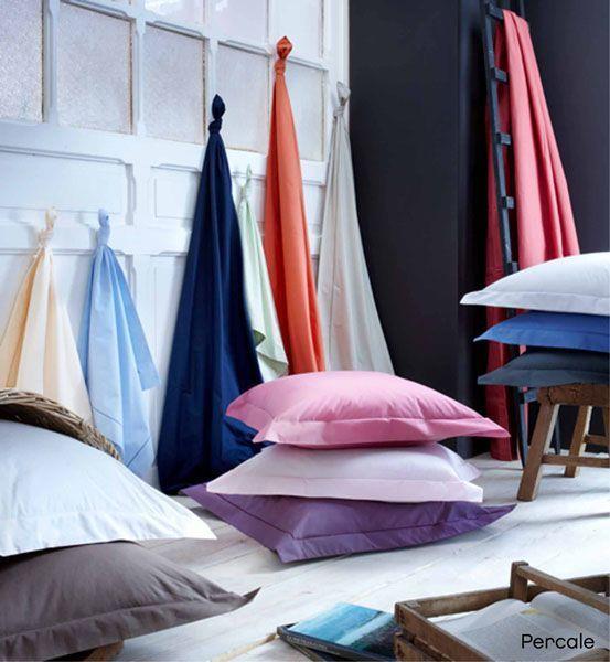 Housse de couette percale blanc 240x220 linge de maison - Difference entre drap plat et housse de couette ...