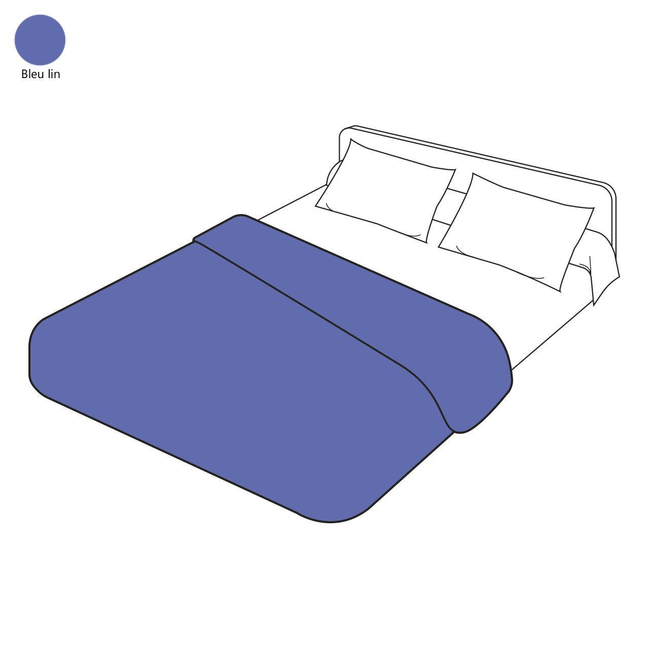 Housse De Couette Uni Bleu Lin Coton 140x200 Tradilinge