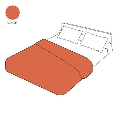 Housse de couette uni rouge corail coton 200x200 linge de maison - Housse de couette rouge 200x200 ...