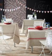 Nappe Bistrot Gris polyester ovale 180x240 - Tradilinge