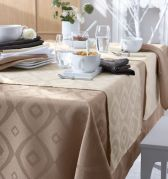 Nappe Brunch Taupe polyester ovale 180x300 - Tradilinge