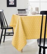 Nappe Paco Maïs polyester motifs triangles jaunes ovale 180x240 - Tradilinge