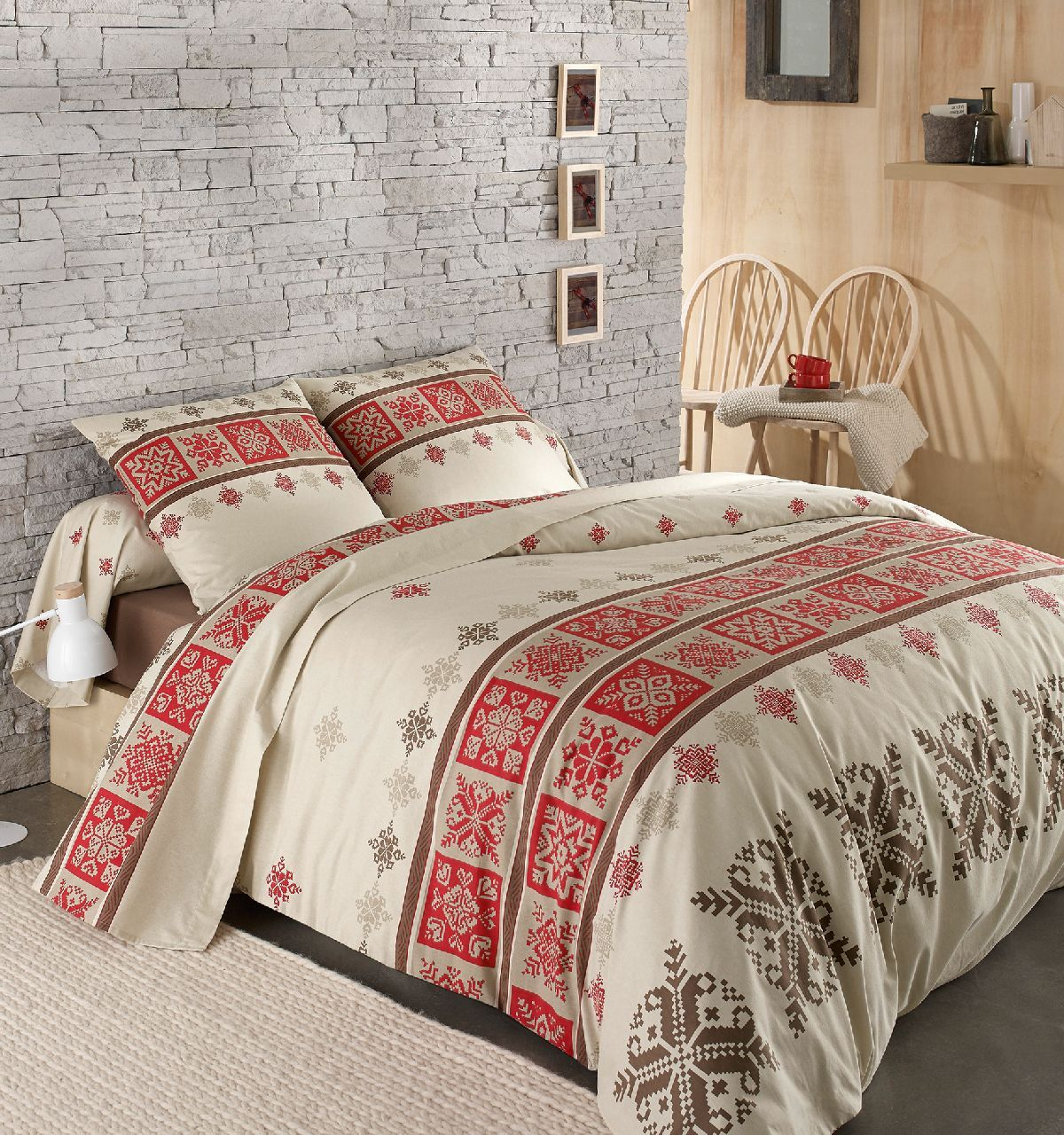 parure de lit 3 pi ces flanelle cork rouge 240x300 2 taies. Black Bedroom Furniture Sets. Home Design Ideas