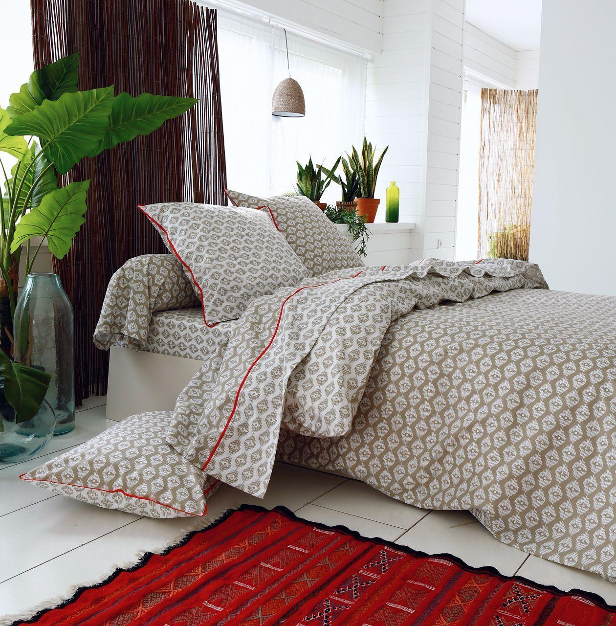 parure de lit acapulco imprim taupe ivoire hc 260x240 2to. Black Bedroom Furniture Sets. Home Design Ideas