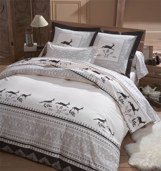 parure de lit chamois 260x240 linge de maison. Black Bedroom Furniture Sets. Home Design Ideas