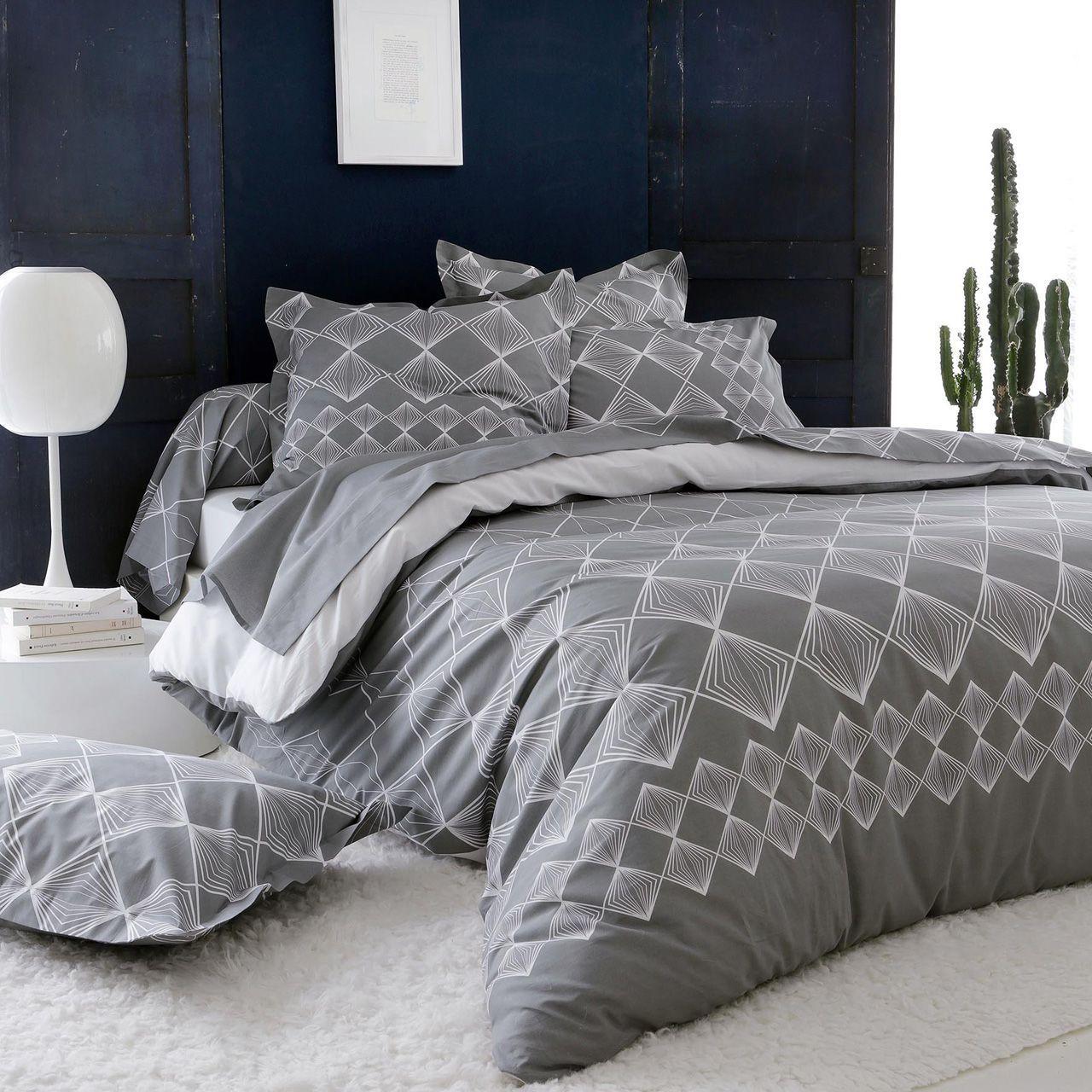 parure de lit forever gris coton imprim dp 180x290 dh. Black Bedroom Furniture Sets. Home Design Ideas