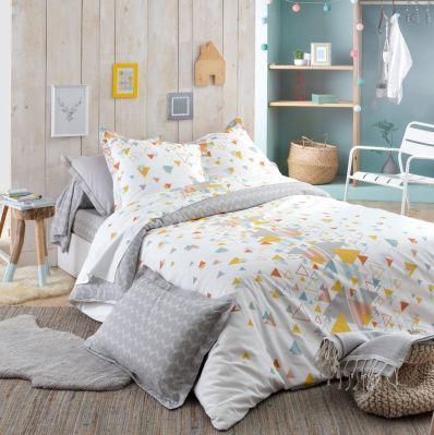 parure de lit helsi imprim sur fond blanc hc 200x200 2to linge de maison. Black Bedroom Furniture Sets. Home Design Ideas