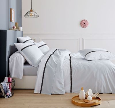 parure de lit passion avec rayure noire dp 240x310 dh 140x190 2to linge de maison. Black Bedroom Furniture Sets. Home Design Ideas