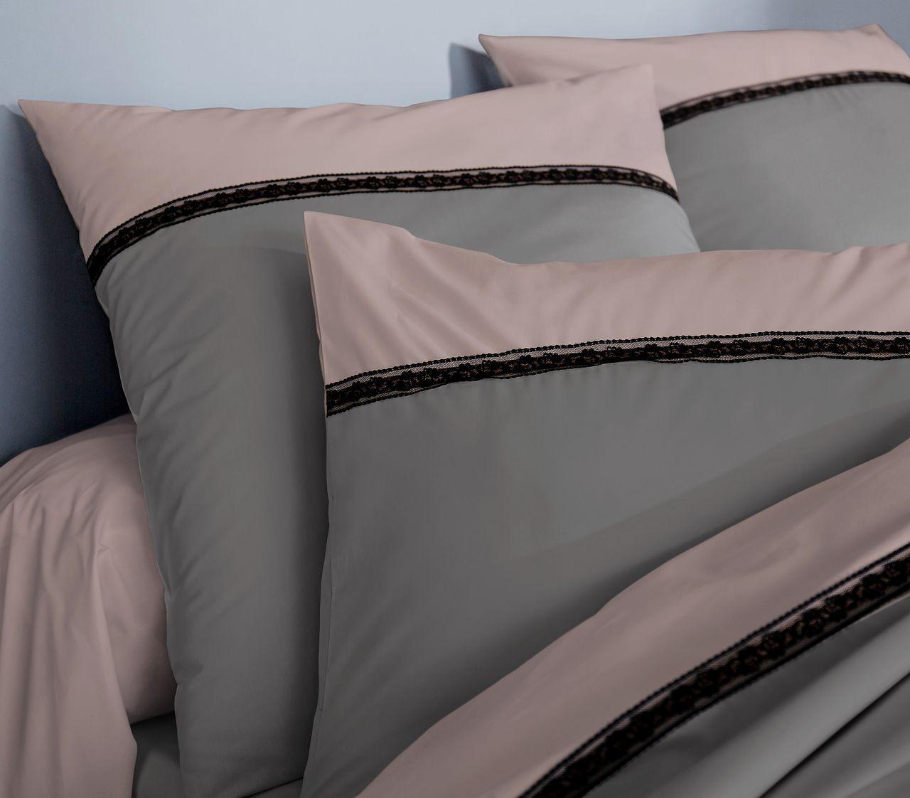 parure de lit passion percale galon anthracite dp240x310 dh140x190 2to. Black Bedroom Furniture Sets. Home Design Ideas