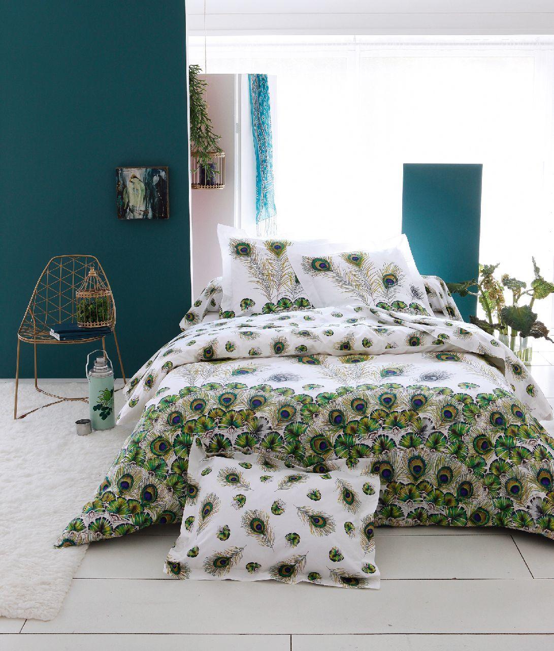 parure de lit peacock percale 140x200 1 taie tradilinge. Black Bedroom Furniture Sets. Home Design Ideas