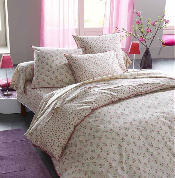 parure de lit romantic vintage 140x200 linge de maison. Black Bedroom Furniture Sets. Home Design Ideas