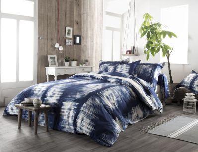 parure de lit satya coton tie dye bleu dp 240x310 dh 140x190 2to 1tt linge de maison. Black Bedroom Furniture Sets. Home Design Ideas