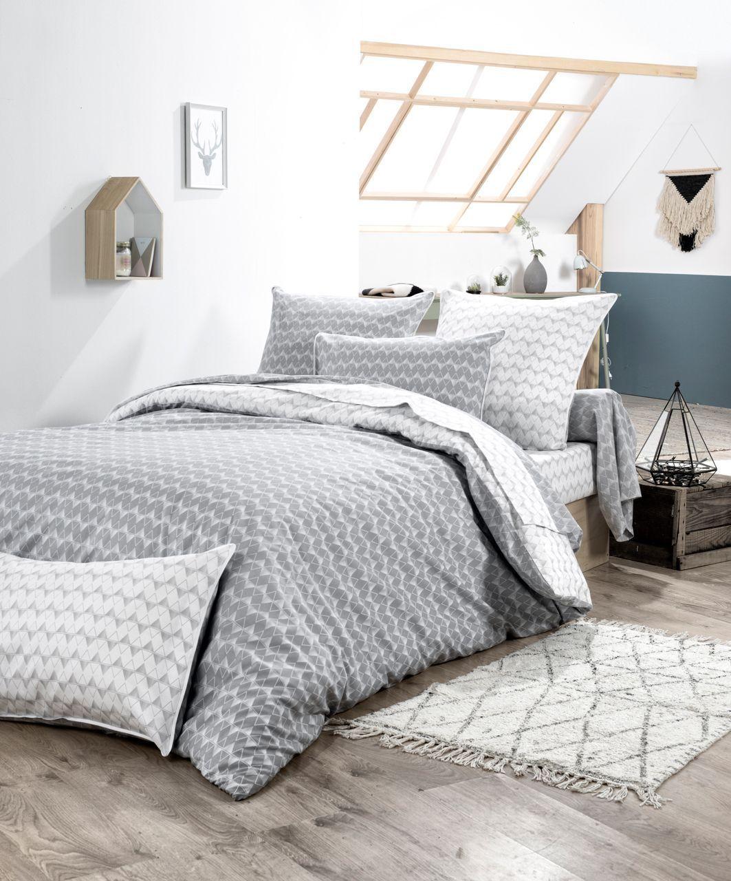 parure de lit scandi imprim sur fond gris dp 240x310 dh 140x190 2to 1tt. Black Bedroom Furniture Sets. Home Design Ideas