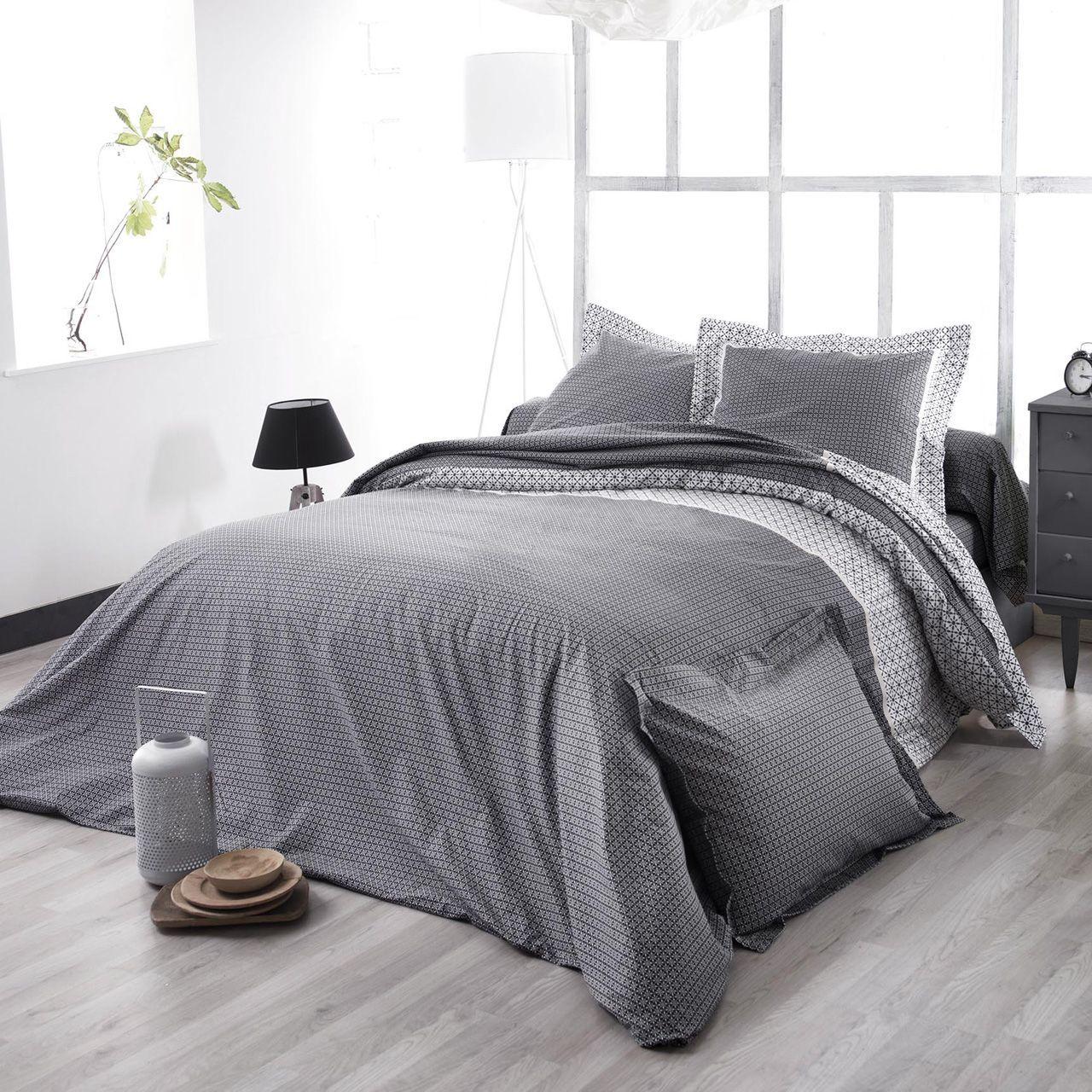 Parure de lit wesley noir satin de coton hc 260x240 2to tradilinge - Parure de lit en satin de coton ...