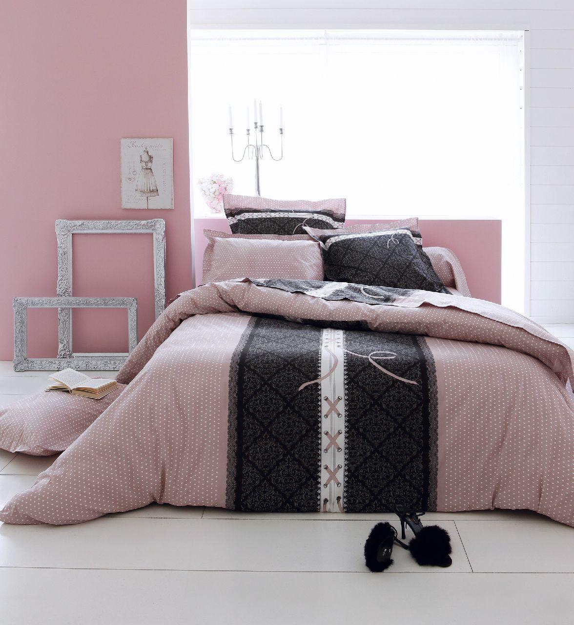parure de lit coton glamour 260x240 2 taies tradilinge. Black Bedroom Furniture Sets. Home Design Ideas
