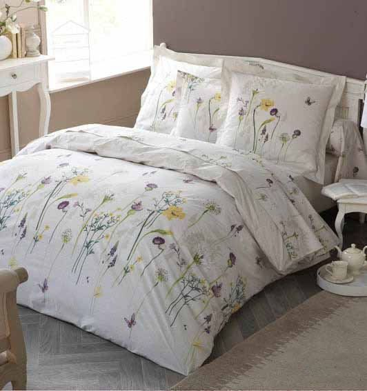 parure de lit percale narcisse 140x200 linge de maison. Black Bedroom Furniture Sets. Home Design Ideas