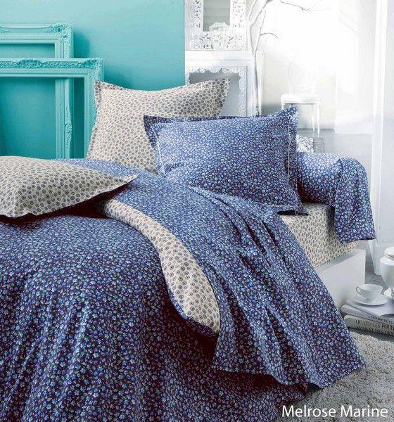 taie d 39 oreiller melrose marine 50x70 linge de maison. Black Bedroom Furniture Sets. Home Design Ideas