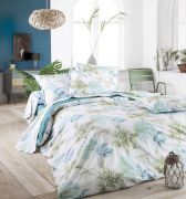 Taie d'oreiller Tropical émeraude percale motifs feuillages 50x70 - Tradilinge